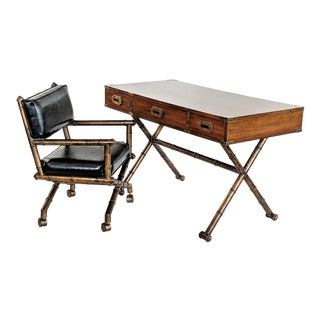 1960s Campaign Gilded Metal Base Writing Desk and Chair - 2 Pieces For Sale