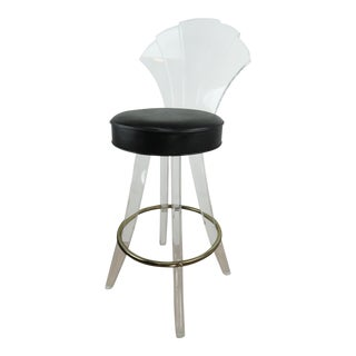 1970s Vintage Charles Hollis Jones Style Lucite Bar Stool For Sale