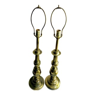 1950s Stiffel Antique Brass Lamps - A Pair For Sale