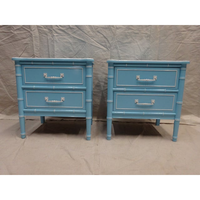 Vintage Bamboo Night Stands - Image 2 of 7
