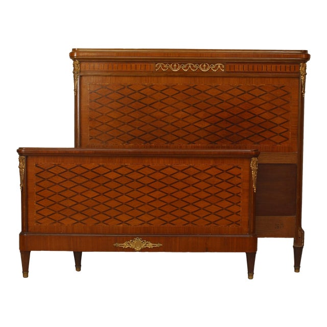 French Louis XVI Style Ormolu-Trimmed Mahogany Bed For Sale