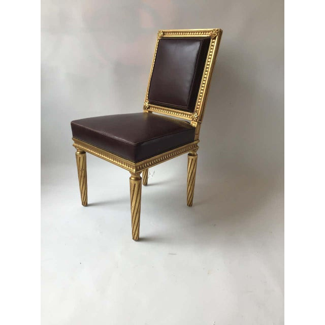 Brown French Style Louis XVI Giltwood/ Leather Dining Chairs- Set of 4 For Sale - Image 8 of 13