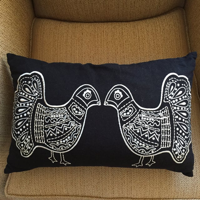 Folky Black & White Twin Bird Pillow - Image 5 of 5