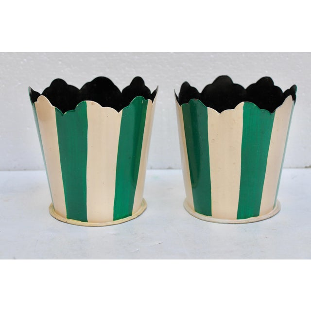 Green Striped Tole Planters - A Pair - Image 6 of 6