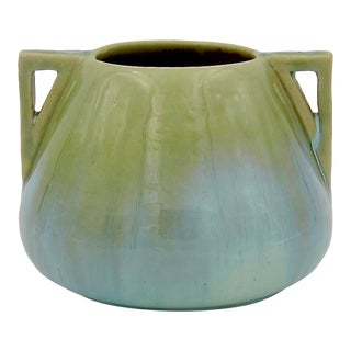 Vintage Fulper Pottery Arts & Crafts Double Handled Vase With Flambé Glaze For Sale