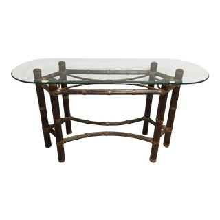McGuire Bamboo Glass Top Oval Side Table For Sale