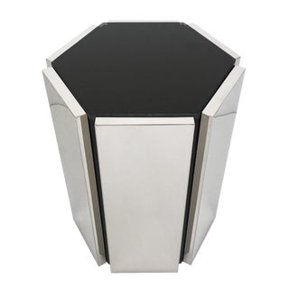 Chrome and Smoke Glass Hexagon Side Table