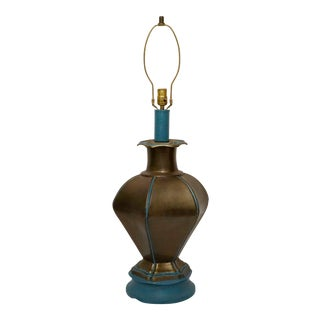 1960s Frederick Cooper Style Turquoise and Bronze Asian Patinated Brass Hexagonal Lamp For Sale