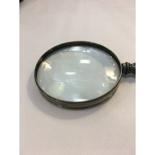 Bronzed Magnifying Glass With Wooden Handle. Perfect for any desk.