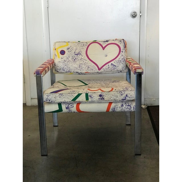 1960s 1960s Mid-Century Modern Milo Baughman for Thayer-Coggin Pink and White Pattern Upholstered Club Chairs - a Pair For Sale - Image 5 of 11