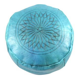 Modern Turquoise Leather Moroccan Pouf Ottoman For Sale