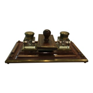 Brass Trimmed Desk Set For Sale