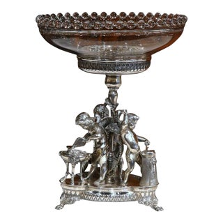 19th Century French Silverplated Surtout With Crystal Bowl For Sale