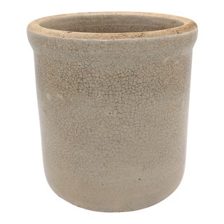 19th Century Cottage Gray Stoneware Crock For Sale