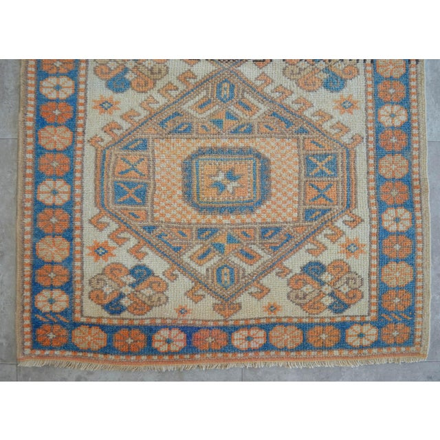 Vintage Low Pile Turkish Rug Hand Knotted Small Area Rug - 3′ X 4′4″ For Sale In Raleigh - Image 6 of 9