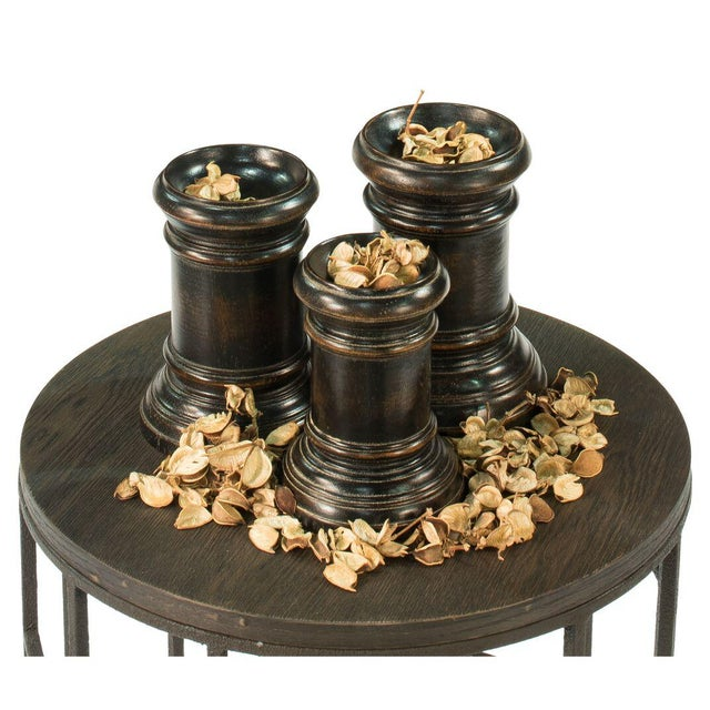 Traditional Round Wood Decorative Bases - Set of 3 For Sale - Image 3 of 4