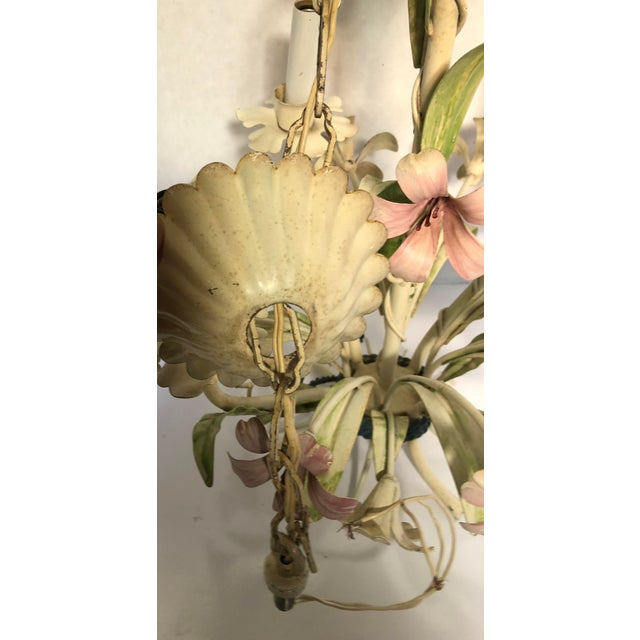 Cottage 1960s Italian Tole Floral Chandelier For Sale - Image 3 of 9