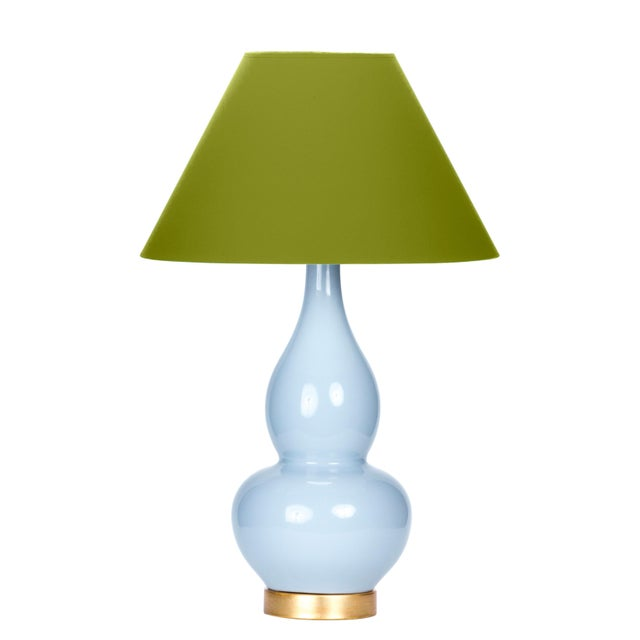 Casa Cosima Double Gourd Table Lamp, Stinson Blue/Dark Celery Shade For Sale - Image 4 of 4
