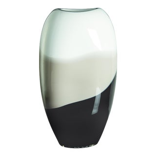 Ellisse Vase in White, Grey and Black by Carlo Moretti For Sale