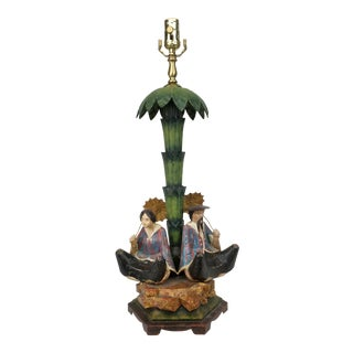20th Century Asian Tole Palm Table Lamp For Sale
