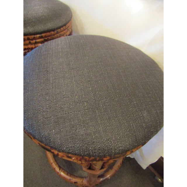 Burnt Bamboo Bar Stools With Woven Seats - Set of 3 - Image 5 of 6
