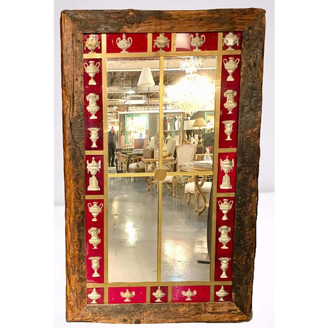 Rustic Rustic Italian Wall Mirror With Reverse Painted Classical Vases and Urns For Sale - Image 3 of 13