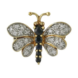 Vintage 14k Gold Diamond and Sapphire Bee Pin Brooch For Sale