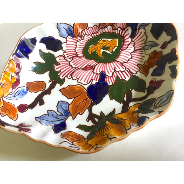 Gien Gien France Rare Vintage 1985 Faience Ruffle Edge Small Hand Painted Floral Ceramic Dish For Sale - Image 4 of 13
