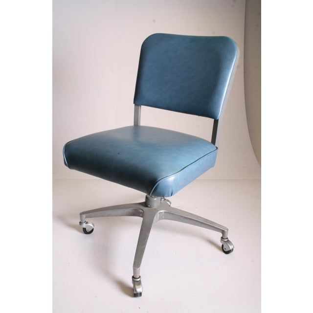 Mid Century Modern Blue Vinyl Swivel Office Chair - Image 5 of 11
