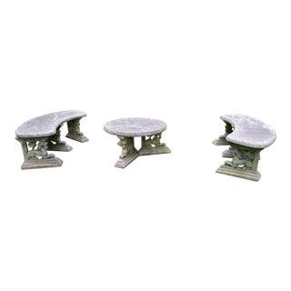 Vintage Cement Patio Gargoyle Bench Table Set - Set of 3