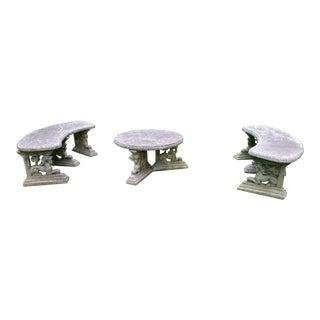 Vintage Cement Patio Gargoyle Bench Table Set - Set of 3