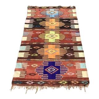 Brown Southwestern Vintage Turkish Kilim Rug 2′9″ × 4′10″ For Sale