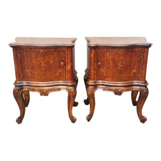 20th Century Italian Bombay Burl Walnut & Inlaid Night Stands/End Tables - a Pair For Sale