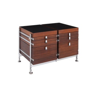 Jules Wabbes Mahogany Double Chest of Drawers for Mobilier Universel For Sale