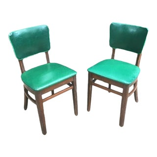 1930s Vintage Green Leather & Mahogany Dining Chairs- A Pair For Sale