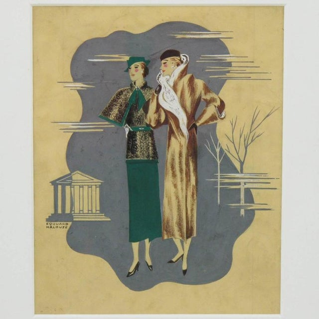 Edouard Halouze French Art Deco Fashion Illustration Drawing - Image 2 of 7