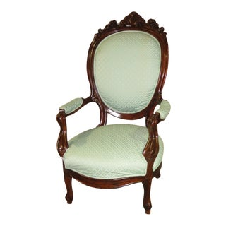 1970s Vintage Carved Mahogany Victorian Style Parlor Chair For Sale