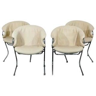 Mid Century Modern Gastone Rinaldi Set 4 Cantilever Chrome Armchairs 1970s Italy For Sale