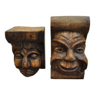 Carved Wood Corbels - a Pair For Sale
