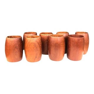 1960s Wooden Cups - Set of 8 For Sale