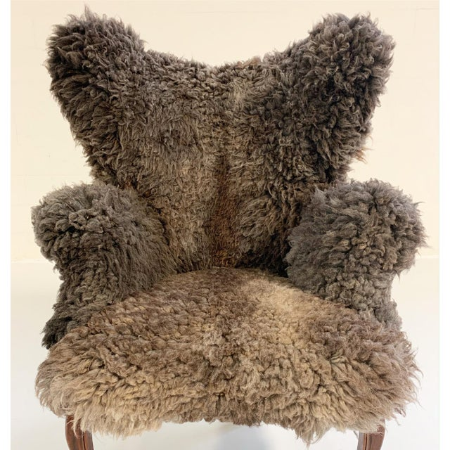 Brown Vintage Nick Cave Wingback Armchair Restored in California Sheepskin For Sale - Image 8 of 11