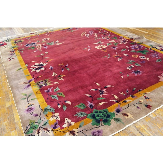 "Antique Chinese Art Deco rug with red color and 8'10"" x 11'6"" size."