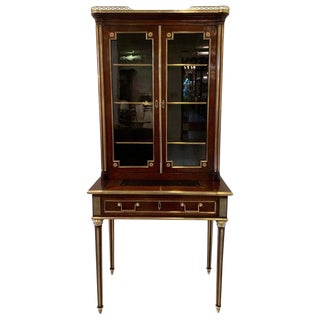 19th Century Louis XVI Style Diminutive Two Part Bookcase on Desk/Secretary For Sale