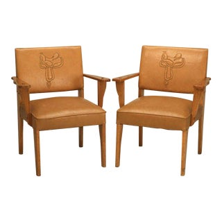 "Magnificent Original ""Ranch Oak"" Cowboy Arm Chairs W/Saddle Decoration - a pair For Sale"