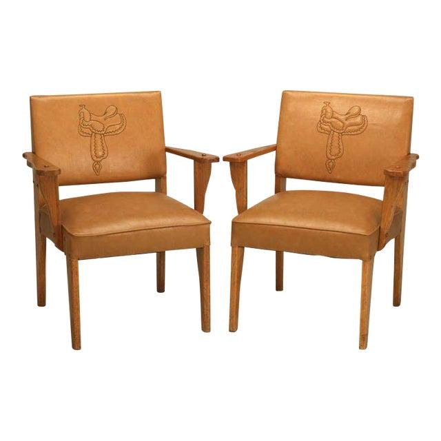 """Magnificent Original """"Ranch Oak"""" Cowboy Arm Chairs W/Saddle Decoration - a pair For Sale"""
