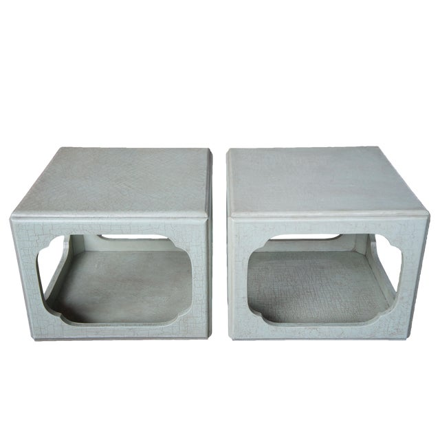 1980s Chinese Baker Form Celadon Green Craquelure End Tables - a Pair For Sale