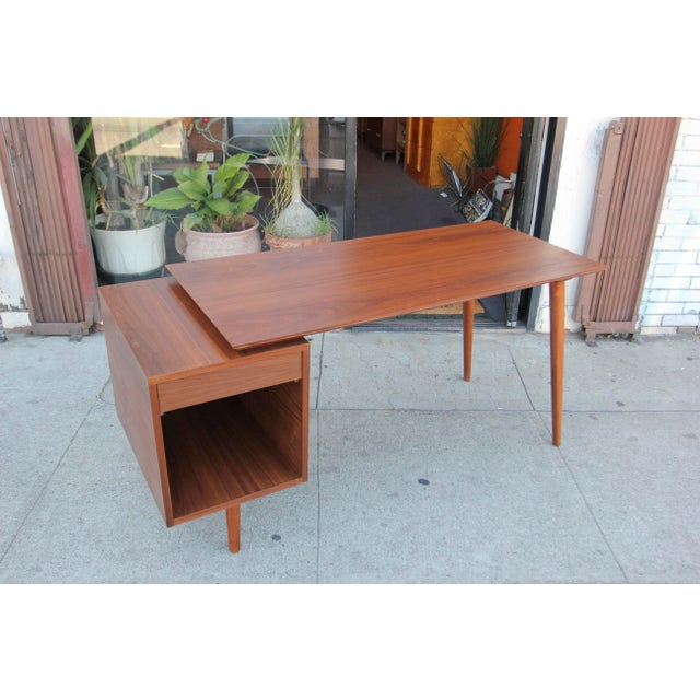 Wood Mid-Century Style Walnut Desk For Sale - Image 7 of 13