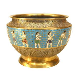 Egyptian Revival Figural Cloisonne Bowl For Sale