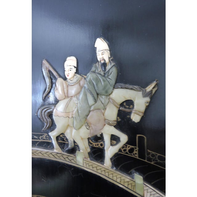 Black Antique Chinese Black Lacquer & Jade Screen / Room Divider, Garden Pavilion & Noble Ladies For Sale - Image 8 of 11