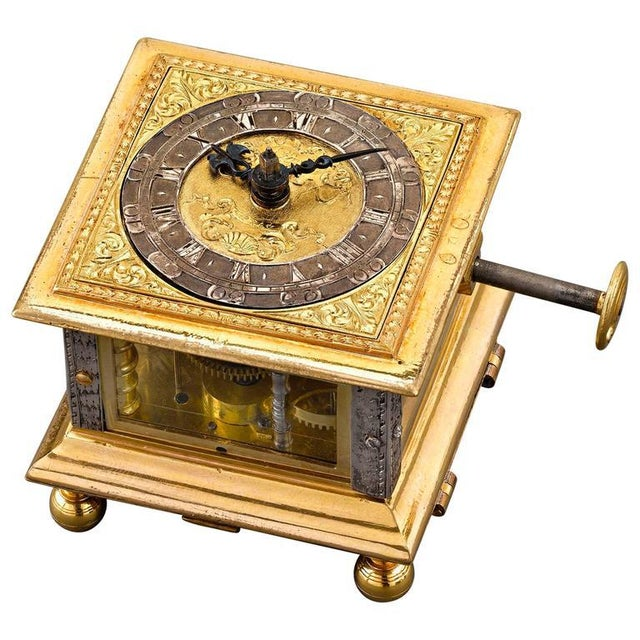 Brass Renaissance Horizontal Table Clock For Sale - Image 7 of 7